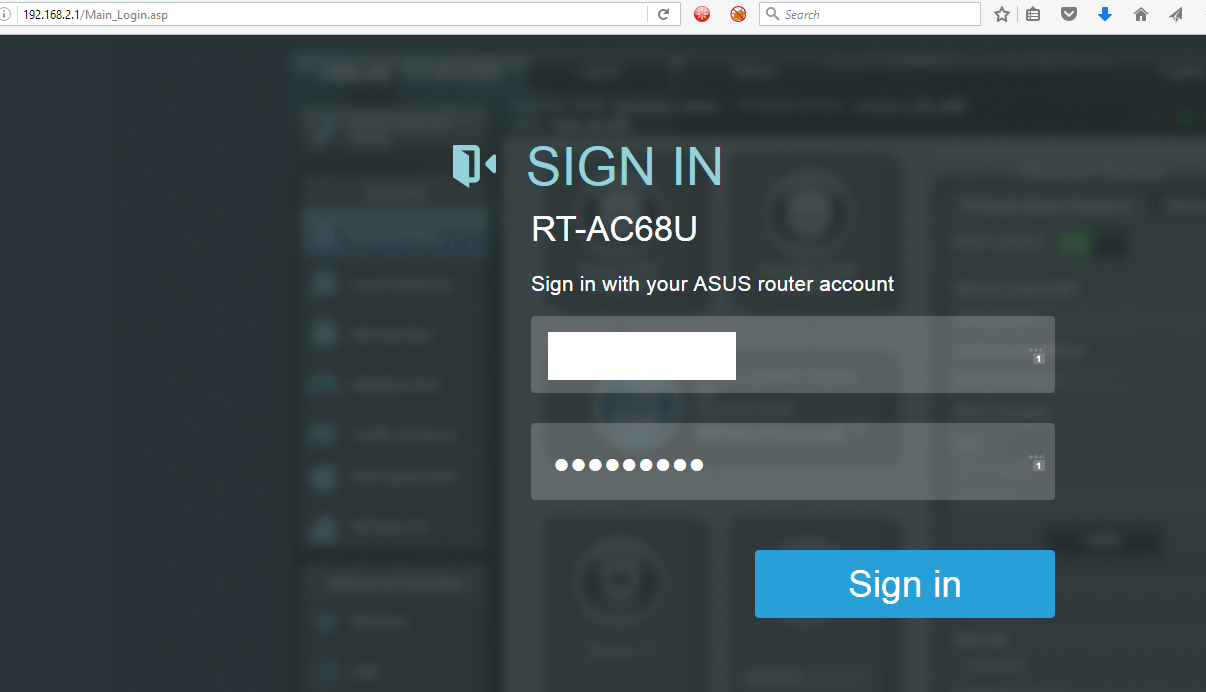 Sign in Asus Router
